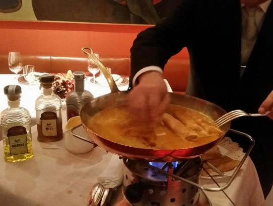 Crepes con salsa de orujo-restaurante Zalacaín